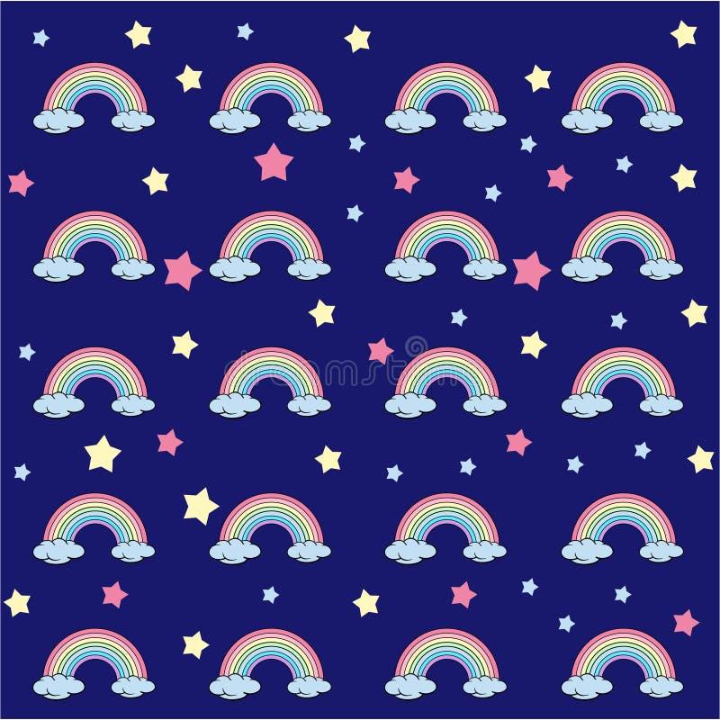 Flat design, cartoon rainbow with stars, seamless pattern on blue background royalty free illustration