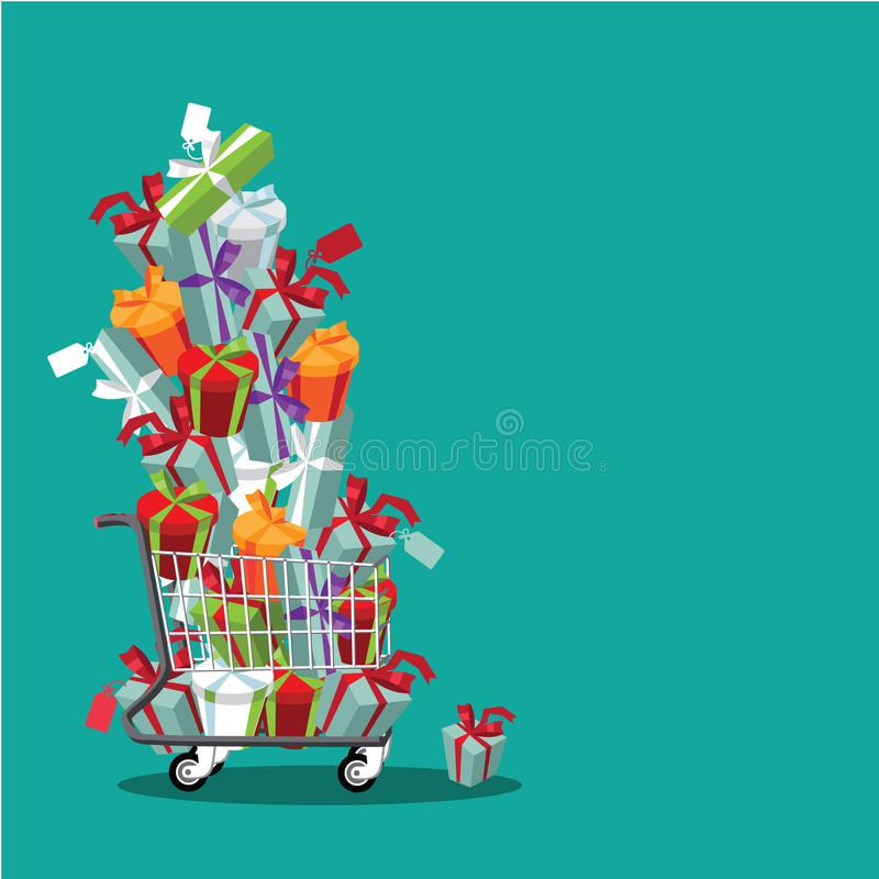 Flat design cartoon shopping cart stuffed with fun gifts stock illustration