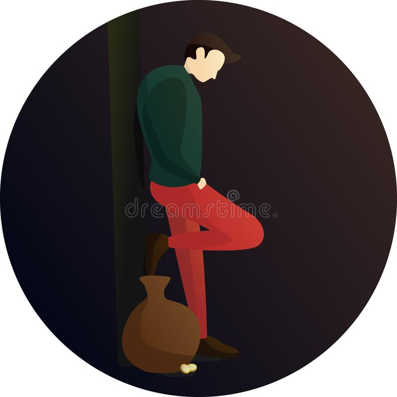 Tired Street Performer Pose Character. Flat Design Character of Tired Street Performer with a bag of gold, Human Activities stock illustration
