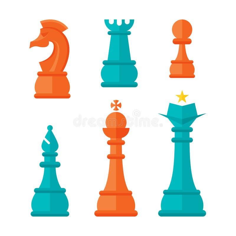 Flat Design Chess Units royalty free illustration