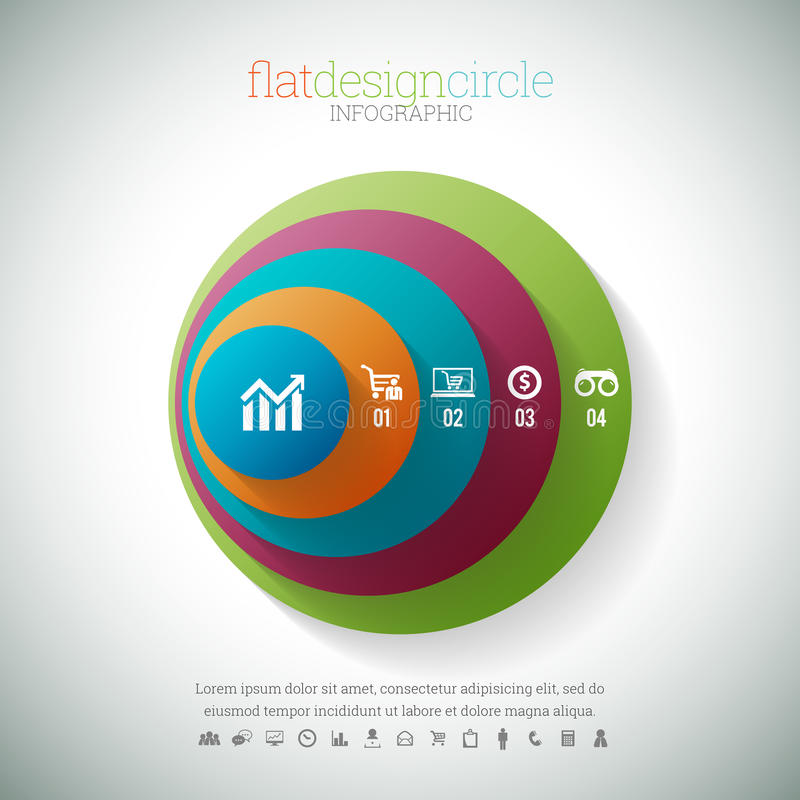 Flat Design Circle Infographic. Vector illustration of flat design circle infographic element stock illustration