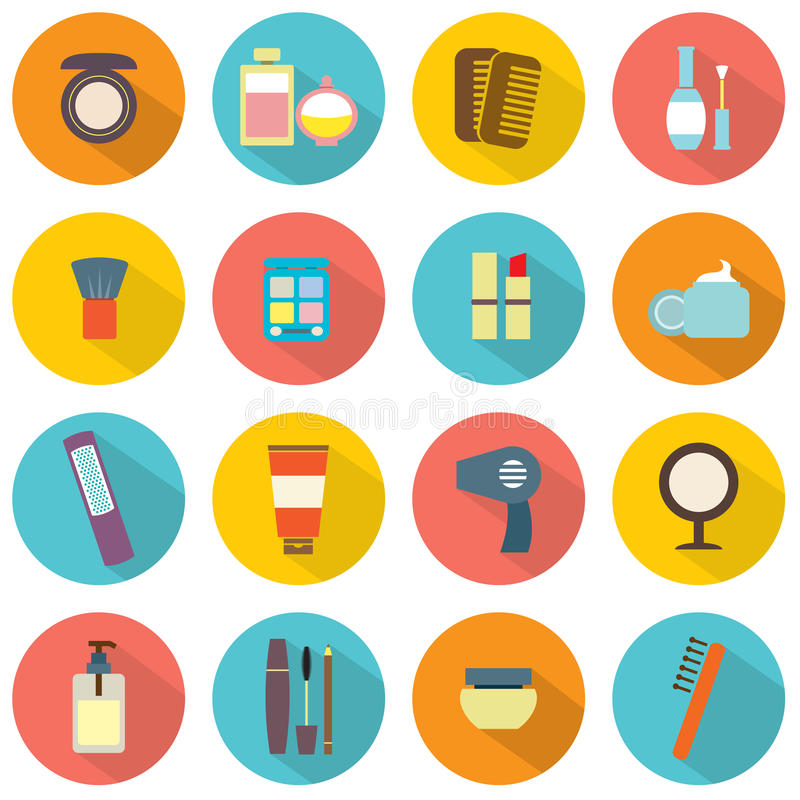 Flat Design Colorful Cosmetics Icons stock illustration