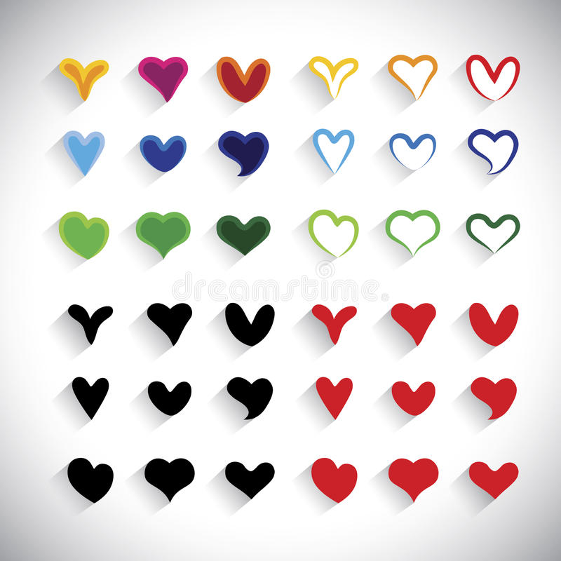 Flat design colorful heart icons collection set - vector graphic royalty free illustration