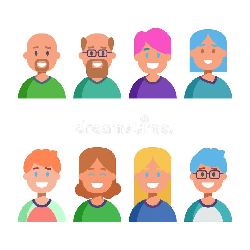 Flat design colorful icons collection of people avatars for profile page, social network, social media, different age stock illustration