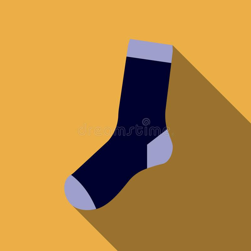 Flat design colorful socks icon on yellow background with long shadow vector illustration