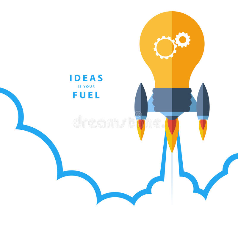 Flat design colorful vector illustration concept for creativity, big idea, creative work, starting new project. royalty free illustration