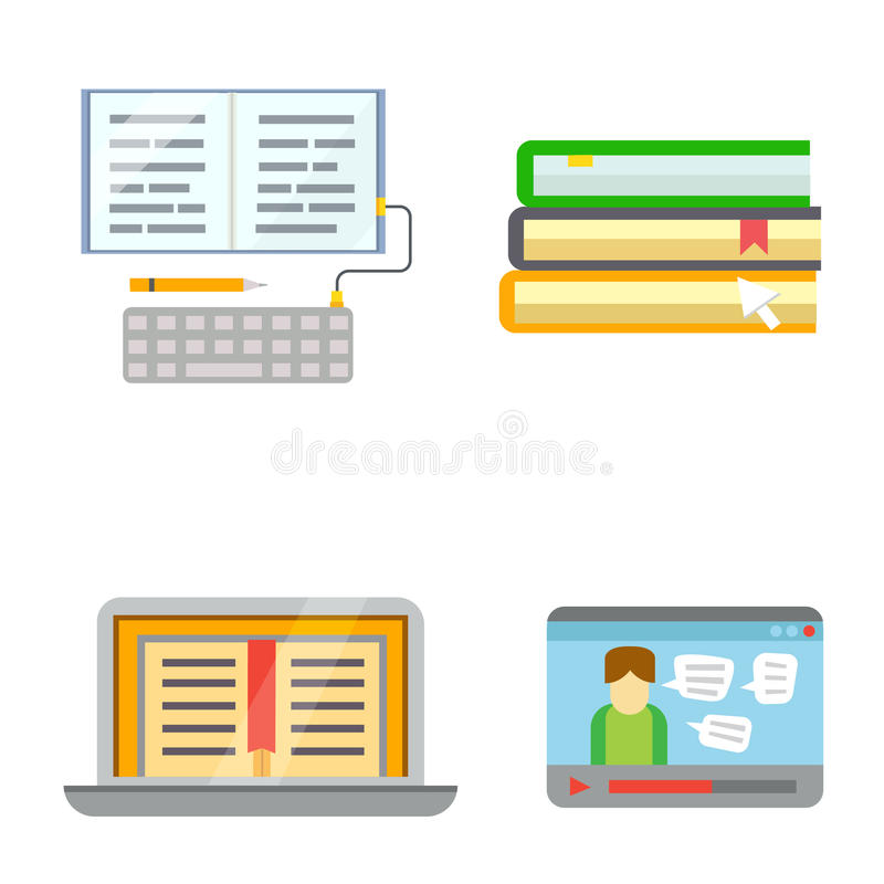 Flat design colorful vector illustration concept for distance education, online learning web banners and print stock illustration