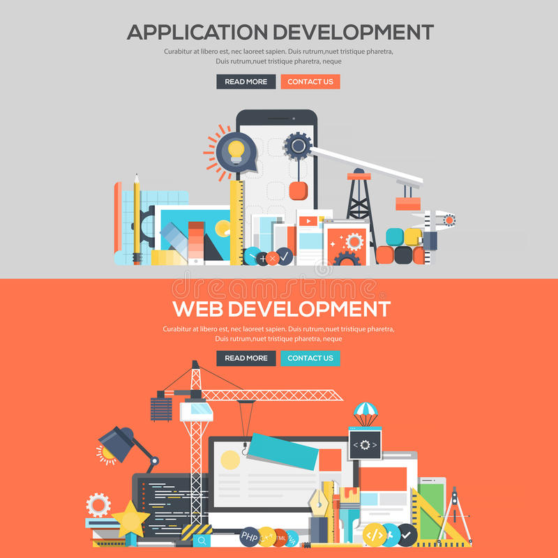 Flat design concept banner - Application Development and Web. Set of Flat Color Banners Design Concepts for Application Development and Web Development. Concepts stock illustration