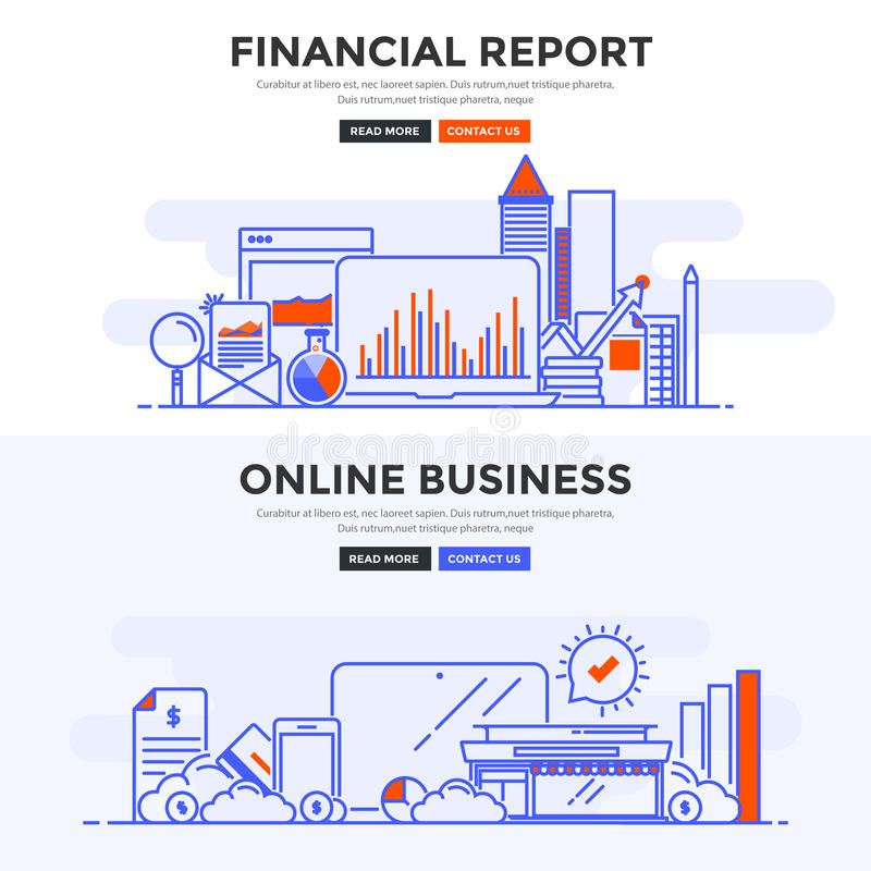 Flat design concept banner -Financial Report and Online Business. Set of Flat Line Color Banners Design Concepts for Financial Report and Online Business royalty free illustration