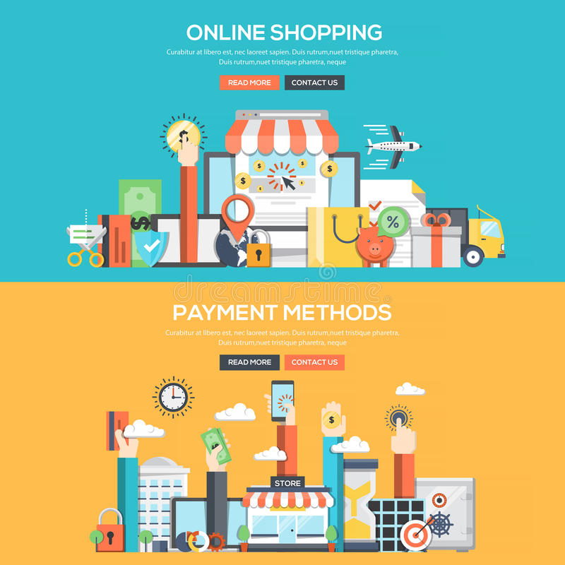 Flat design concept banner - Online Shopping and Payment Methods royalty free illustration