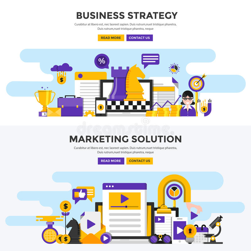 Flat design concept banners - Business Strategy and Marketing So vector illustration