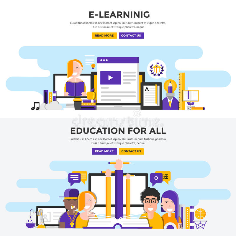 Flat design concept banners -E Learning and Education for all vector illustration