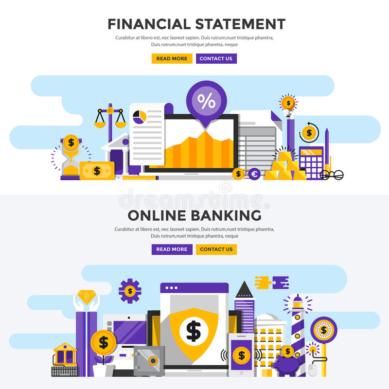 Flat design concept banners - Financial Statement and Online Ban stock illustration