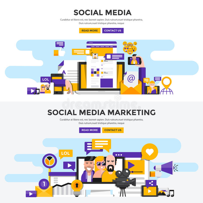 Flat design concept banners - Social Media and Social Media Mark royalty free illustration