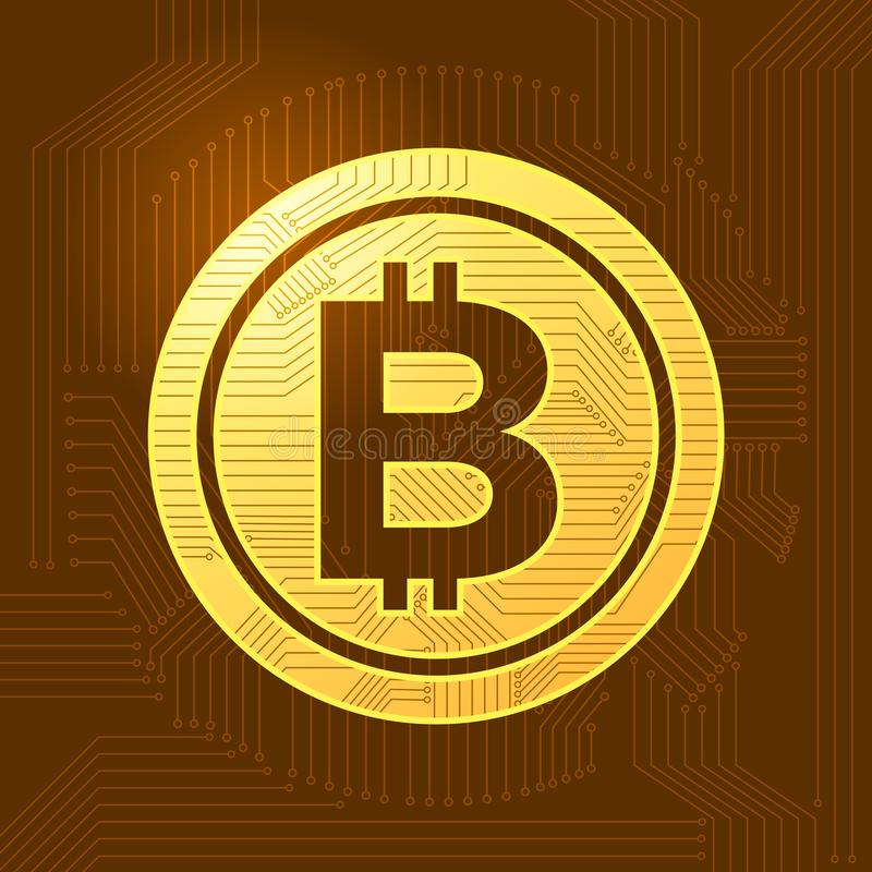 Flat design concept bitcoin crypto currency. Vector illustrate. royalty free illustration