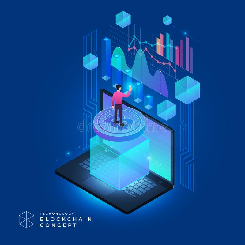 Blockchain and cryptocurrency concept royalty free illustration