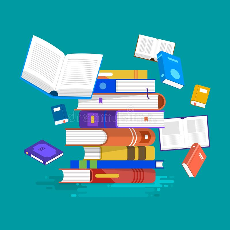 Flat design concept books. Education and learning with a books. vector illustration