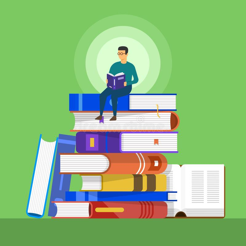 Flat design concept books. a man sit on a book for education and stock illustration