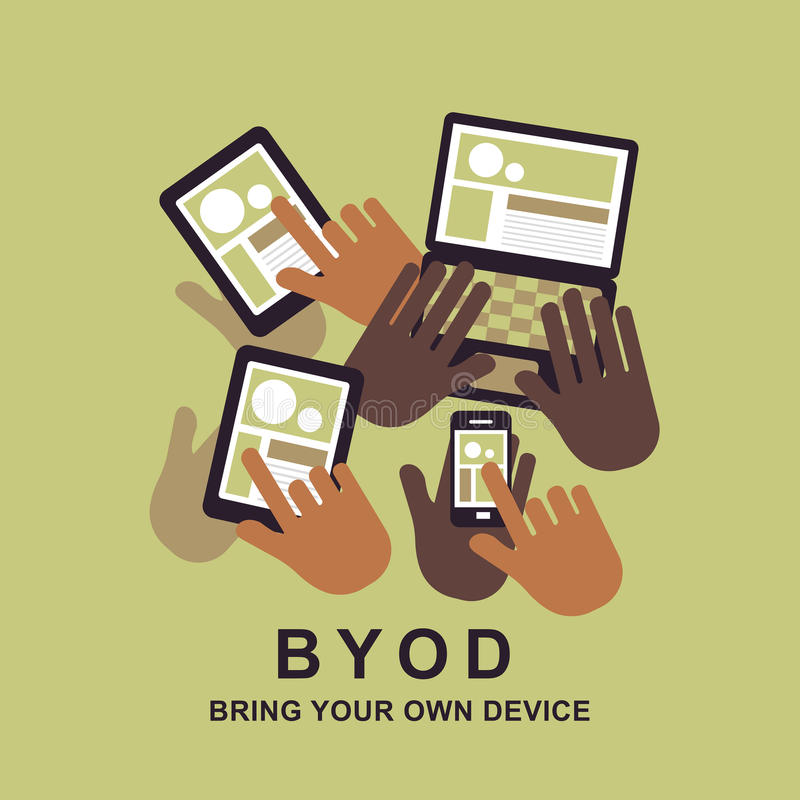 Flat design concept of BYOD. Bring you own device stock illustration