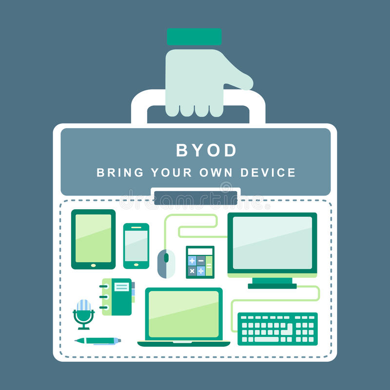 Flat design concept of BYOD. Bring you own device royalty free illustration