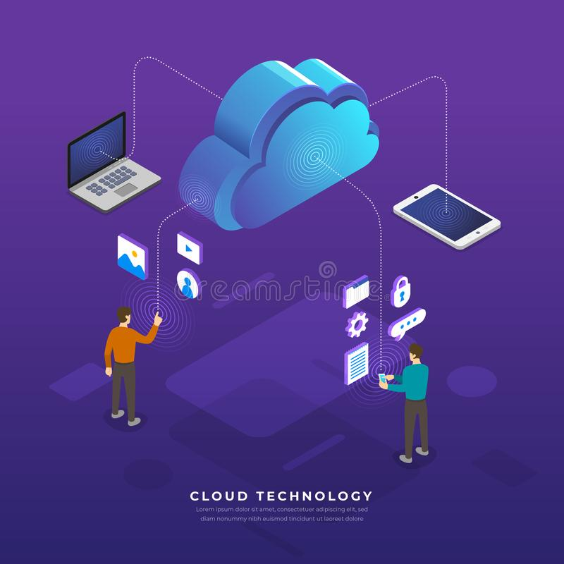 Flat design concept cloud computing technology users network con royalty free illustration