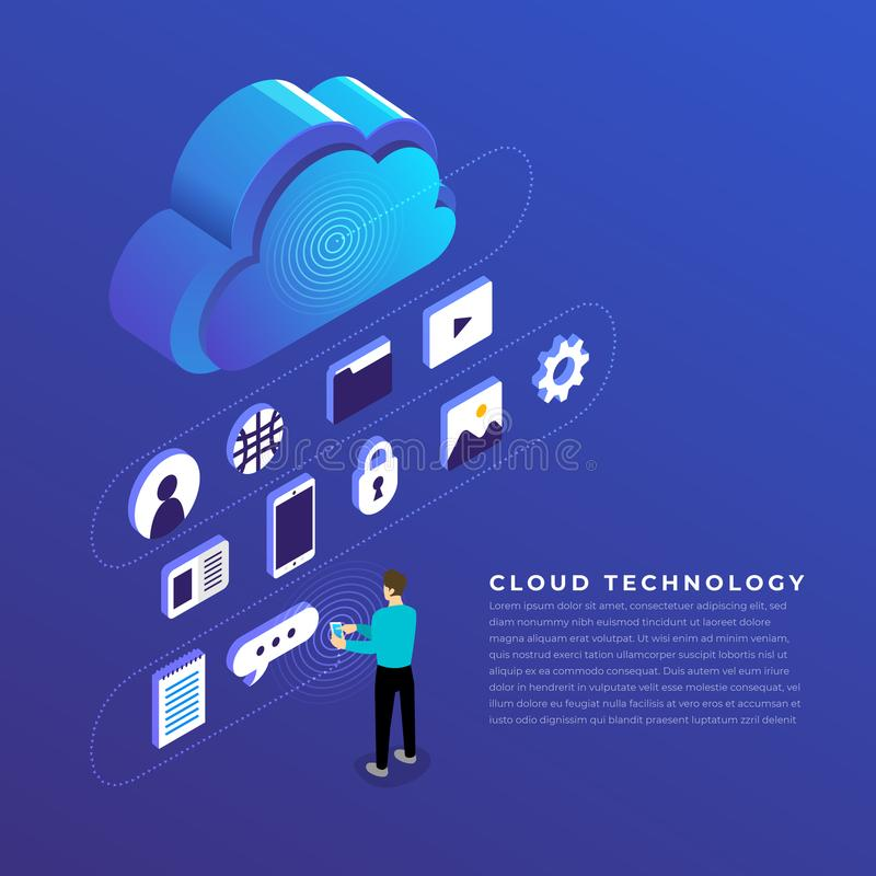 Flat design concept cloud computing technology users network con. Figuration isometric. Vector illustration vector illustration