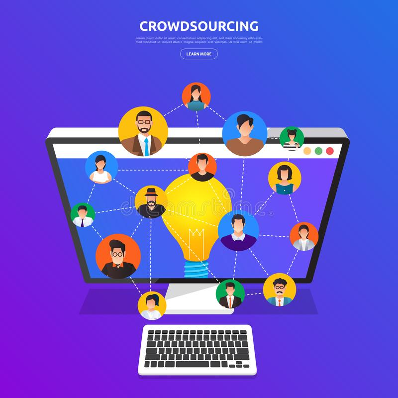 Free Flat Design Concept Crowdsourcing. Vector Illustrate. Royalty Free Stock Image - 112981706