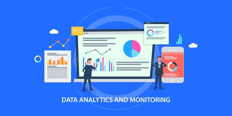 Flat design concept of data analytics, website monitoring, men analyzing business data. Modern concept of website data analysis, understanding marketing data vector illustration