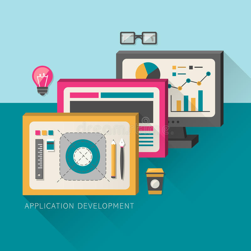Flat design concept of development process an application. For computer royalty free illustration