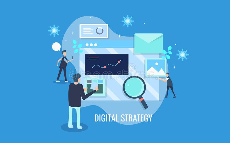 Flat design concept of digital strategy development, marketing team working on digital marketing, advertising, concept. vector illustration