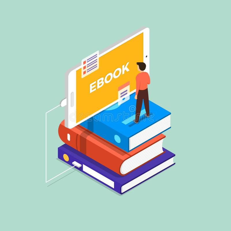 Flat design concept ebook. The man stand on book and mobile devi royalty free illustration