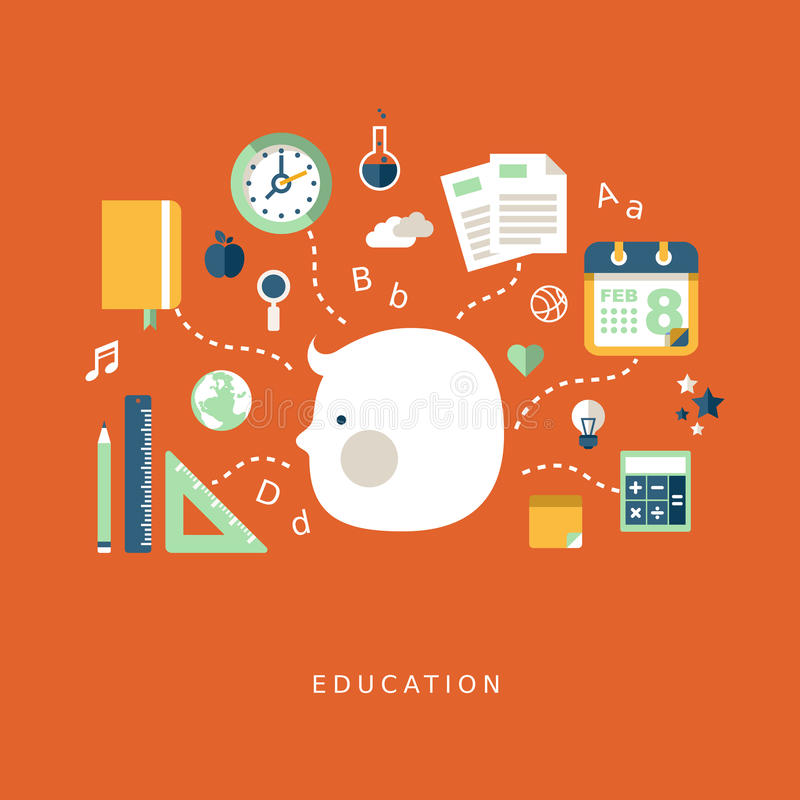 Flat design concept of education stock illustration