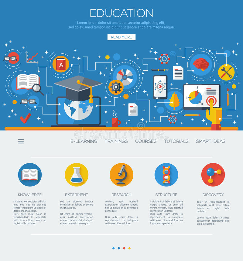 Flat design concept education and online learning royalty free illustration