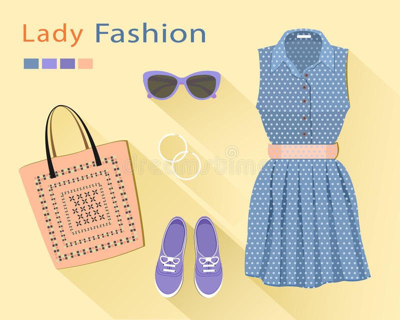 Flat design concept of fashion look: stylish dress, bag, shoes, sunglasses, earrings. Woman clothing set. Trendy clothes objects vector illustration