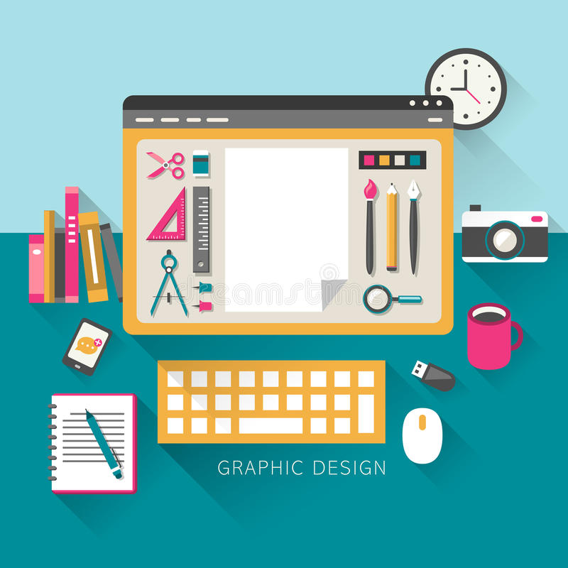 Download Flat Design Concept Of Graphic Design Royalty Free Stock Photography - Image: 38132507