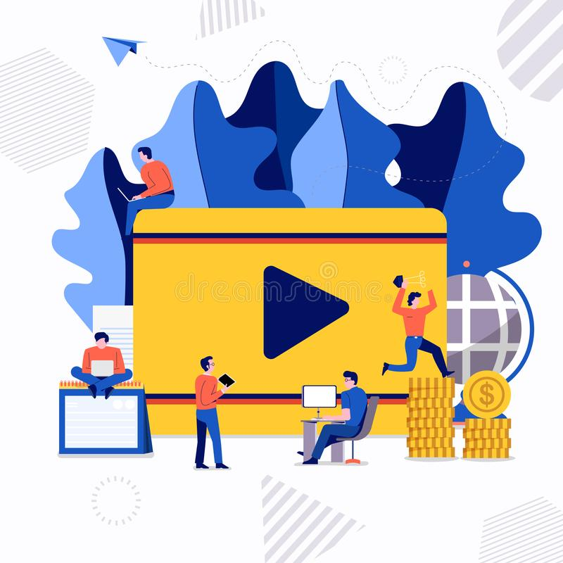 Teamwork video creator. Flat design concept group of peoples work together building social network symbol video play. Vector illustrations stock illustration