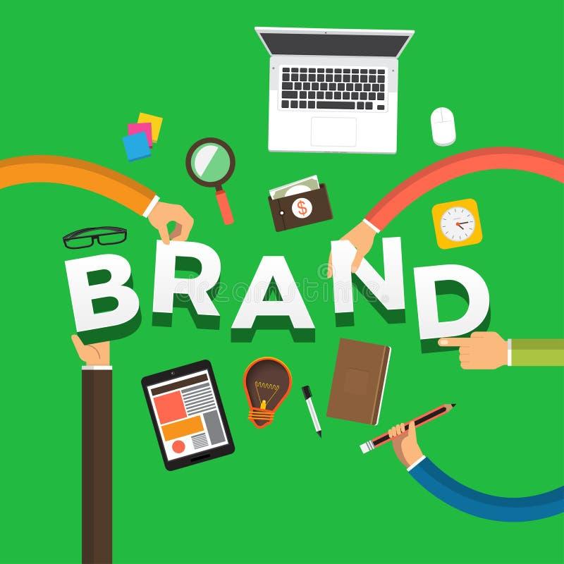 Flat design concept hand create brand. Vector illustrations. vector illustration