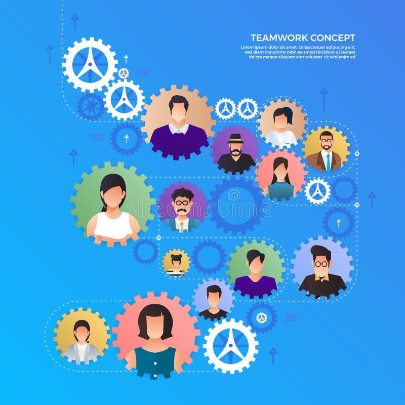 Flat design concept hands teamwork building success business work together. Vector illustrate. royalty free illustration