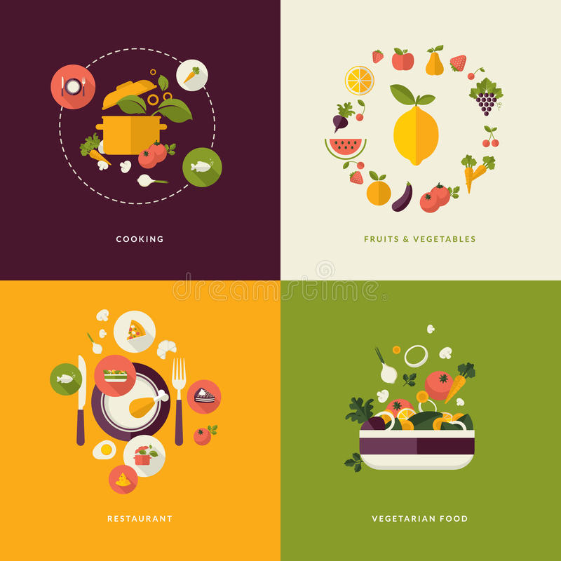 Flat design concept icons for food and restaurant stock illustration