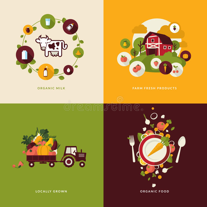 Free Flat Design Concept Icons For Organic Food Stock Images - 38684314