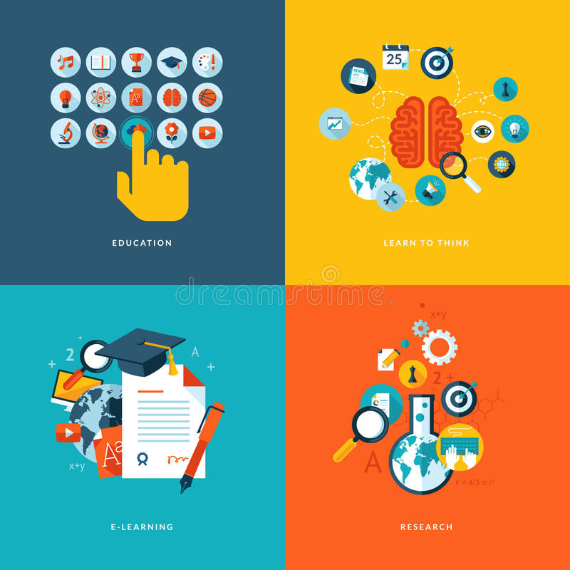 Flat design concept icons for online education stock illustration