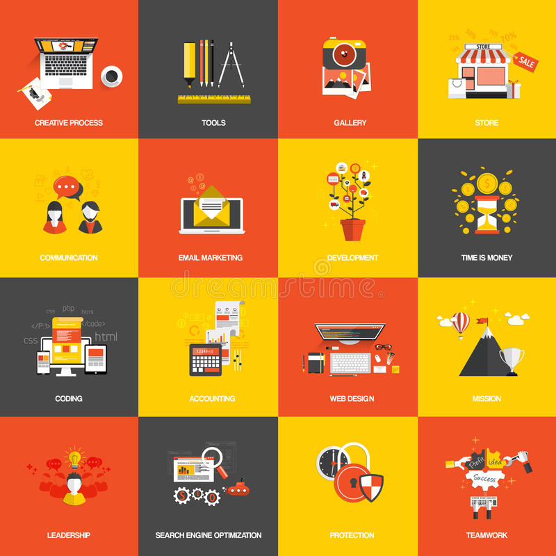 Flat design concept icons. Set of flat design concept icons website development, creative process, store, seo, gallery, tools , time is money, teamwork and