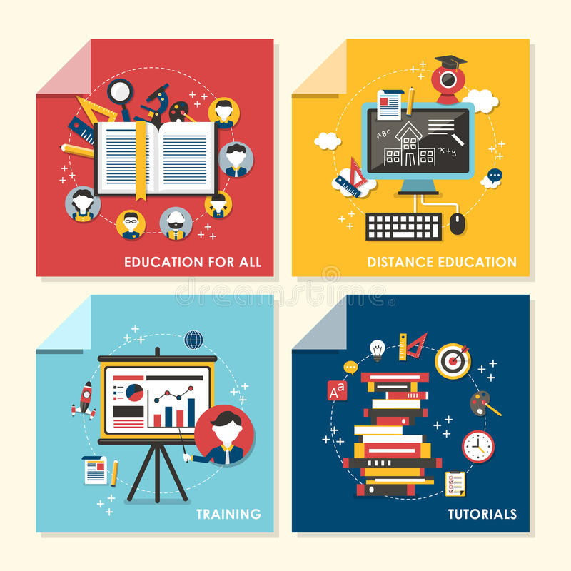 Flat design concept illustration for education and training vector illustration
