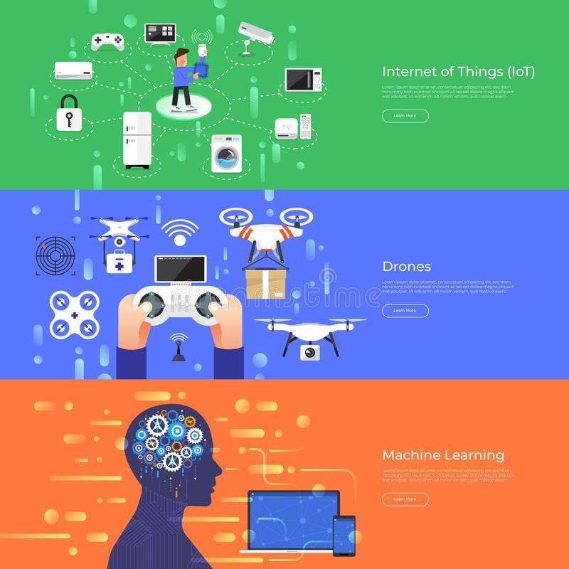 Flat design concept internet of thing, drones and machine learning. Vector Illustrate. royalty free illustration