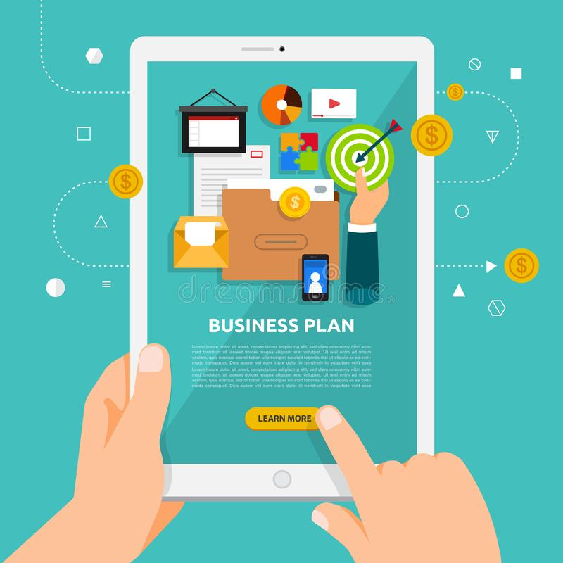 Flat design concept learnning about business online with hand ho vector illustration