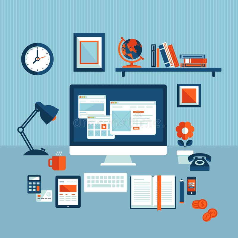 Flat design concept of modern business workspace stock illustration