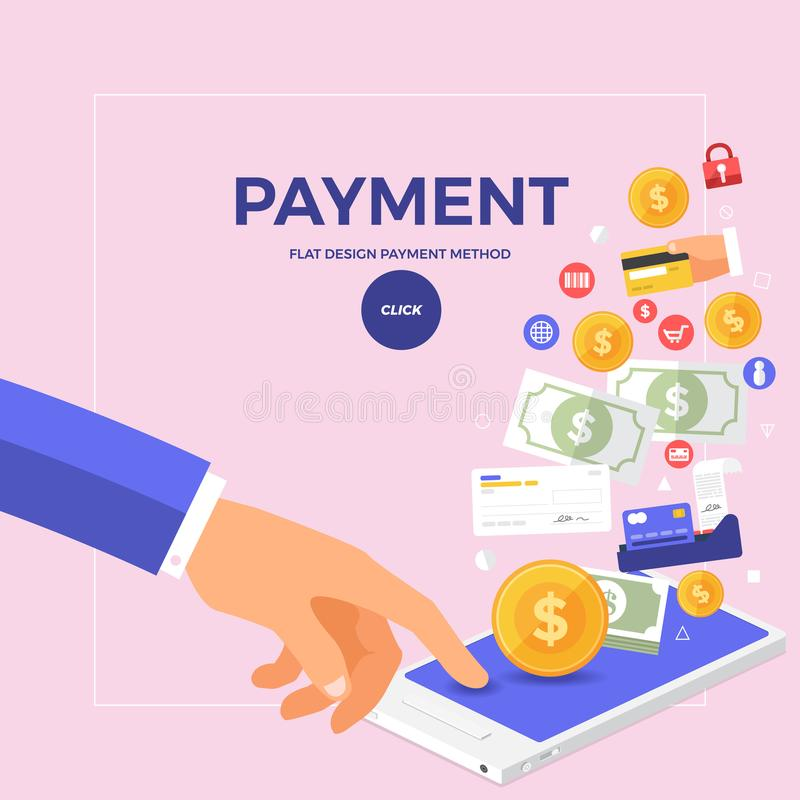 Flat design concept online payment with click on mobile. Vector stock illustration