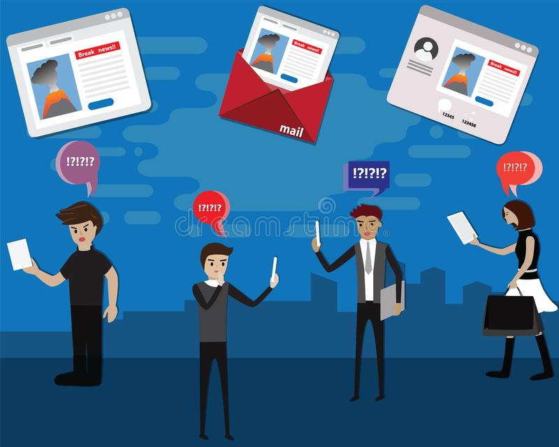 Flat design concept of panic people with fake news on social media,Fake news,Online technology,vector. Illustration vector illustration