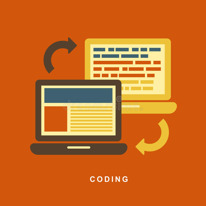Download Flat Design Concept Of Process Web Page Coding Stock Vector - Image: 38132314