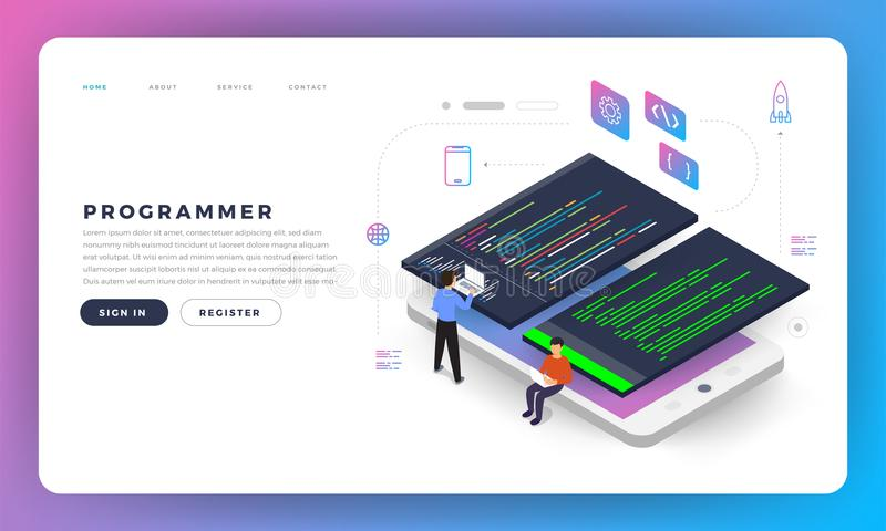 Flat design concept programmer coding program. Vector illustrate royalty free illustration